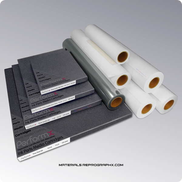 Inkjet medias including photo quality papers, vinyls, films, canvases in rolls and cut sheets